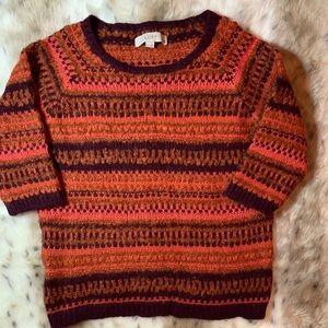 LOFT | Harvest Pumpkin Striped Sweater